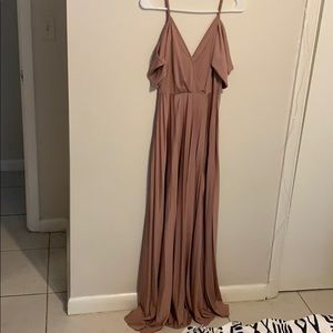 ASOS rose gold long dress,/ blush